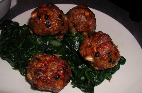cinnamon raisin meatballs on chard
