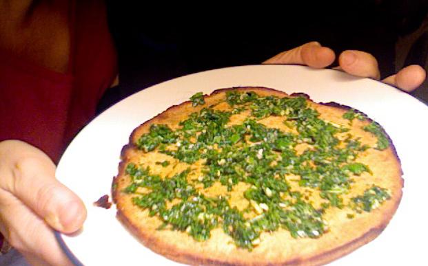 Socca flat bread with cilantro pesto