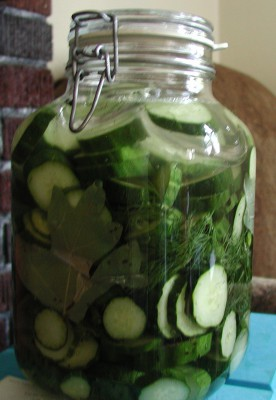 Homemade pickle slices...